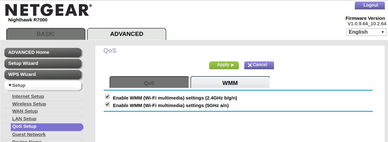 Netgear R7000 ustawienie WMM